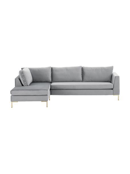 Sofa narożna z aksamitu z metalowymi nogami Luna, Tapicerka: aksamit (poliester) Dzięk, Nogi: metal galwanizowany, Aksamit jasny szary, złoty, S 280 x G 184 cm