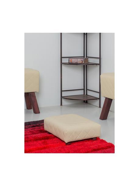 Reposapiés Angela, Patas: madera, Tapizado: cuero sintético, Blanco, negro, An 40 x Al 15 cm