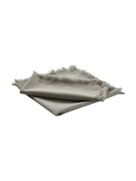 Stoffen servetten Henley met franjes, 2 stuks, 100% katoen, Grijsgroen, 45 x 45 cm