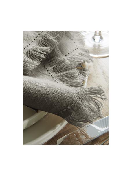 Tovagliolo in tessuto con frange Henley 2 pz, 100% cotone, Grigio verde, Larg. 45 x Lung. 45 cm