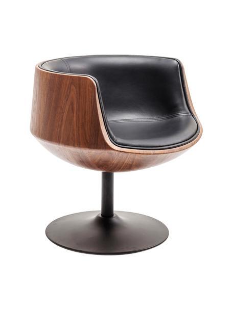 Krzesło obrotowe w stylu retro Club, Tapicerka: sztuczna skóra (100% tkan, Noga: stal powlekana, Brązowy, czarny, S 62 x G 61 cm