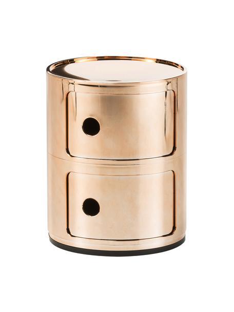 Comodino contenitore di design con 2 cassetti Componibili, Materiale sintetico (ABS), verniciato, Oro, Ø 32 x Alt. 40 cm