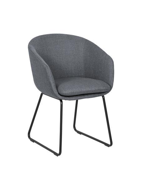 Krzesło z podłokietnikami Juri, Tapicerka: poliester 50 000 cykli w , Nogi: metal malowany proszkowo, Ciemnyszary, S 55 x G 57 cm