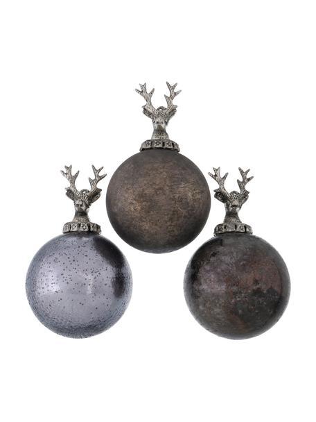 Weihnachtskugeln Sainte Ø 10 cm, 3 Stück, Lila, Braun, Silberfarben, Ø 10 x H 16 cm