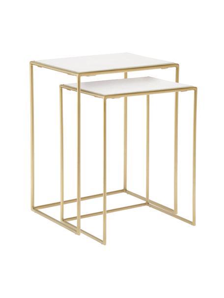 Set 2 tavolini con piano in marmo Zoe, Ripiani: marmo, Struttura: metallo verniciato, Bianco, Set in varie misure