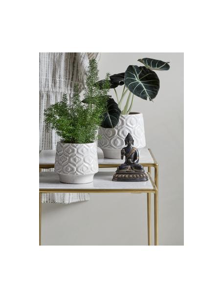 Komplet stolików pomocniczych z marmuru Zoe, 2 elem., Blat: marmur, Stelaż: metal lakierowany, Biały, Komplet z różnymi rozmiarami
