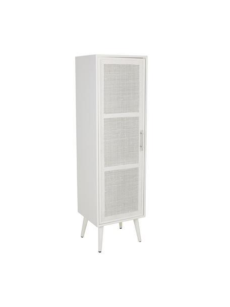 Smal dressoir Cayetana, Frame: gelakt MDF, Handvatten: metaal, Poten: bamboehout, gelakt, Wit, 37 x 140 cm