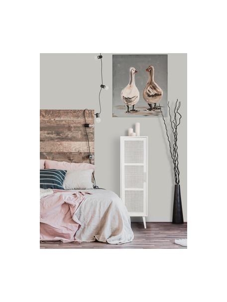 Dressoir Cayetana van hout, Frame: gelakt MDF, Handvatten: metaal, Poten: bamboehout, gelakt, Wit, 37 x 140 cm