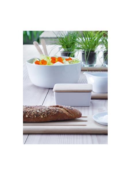 Porseleinen saladeschaal Dine met saladebestek, Ø 24 cm, Schaal: porselein, Bestek: eikenhout, Wit, eikenhoutkleurig, Ø 24 x H 11 cm