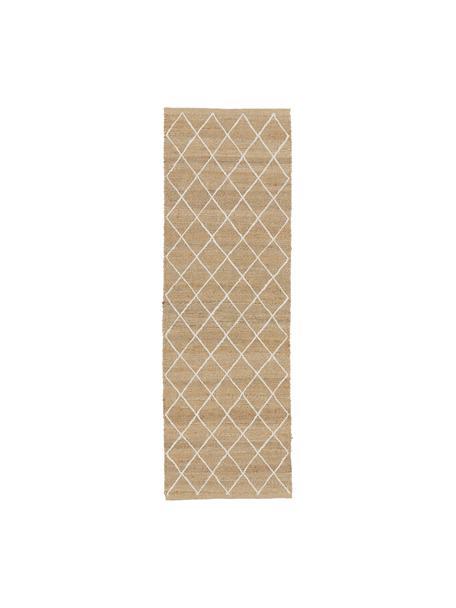 Handgemaakte juten loper Kunu, 100% jute, Beige, 80 x 250 cm