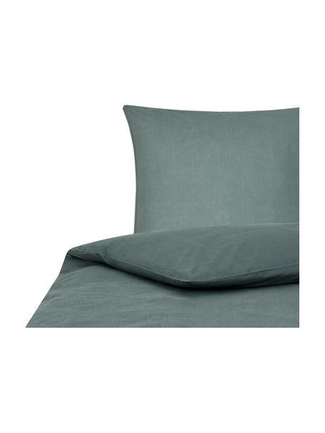 Pościel z bawełny z efektem sprania Arlene, Ciemnyzielony, 135 x 200 cm