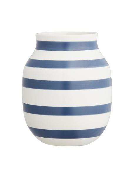 Handgefertigte Design-Vase Omaggio, medium, Keramik, Weiss, Stahlblau, Ø 17 x H 20 cm