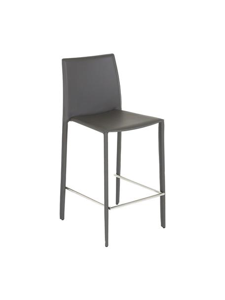 Krzesło barowe ze skóry Boréalys, 2szt., Szary, S 44 x W 98 cm