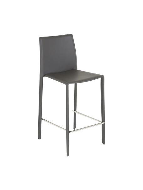 Leder-Thekenstühle Boréalys in Grau, 2 Stück, Sitzfläche: Recyceltes Leder (70% Led, Gestell: Metall, pulverbeschichtet, Grau, 44 x 98 cm