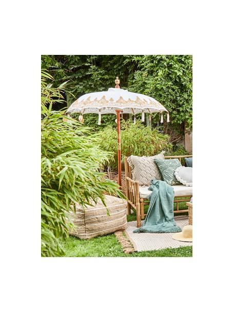 Sombrilla Oriental Lounge, Estructura: madera maciza con decorac, Beige, dorado, marrón oscuro, Ø 180 x Al 225 cm