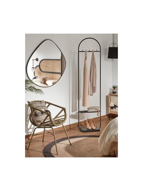 Wandspiegel Anera mit schwarzem Metallrahmen, Rahmen: Metall, Spiegelfläche: Spiegelglas, Schwarz, 93 x 90 cm