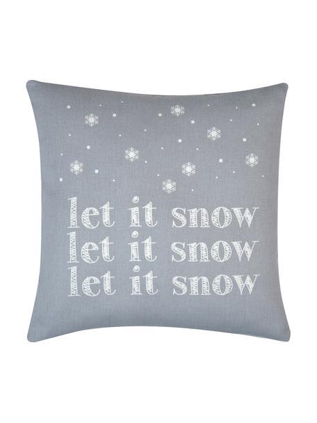 Kussenhoes Snow in grijs/wit met opschrift, Katoen, panamabinding, Grijs, ecru, 40 x 40 cm