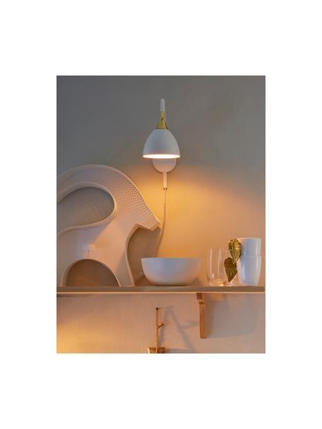 Wandlamp Luis met stekker, Lampenkap: gelakt metaal, Frame: gelakt metaal, Decoratie: gelakt metaal, Wit, messingkleurig, 12 x 29 cm