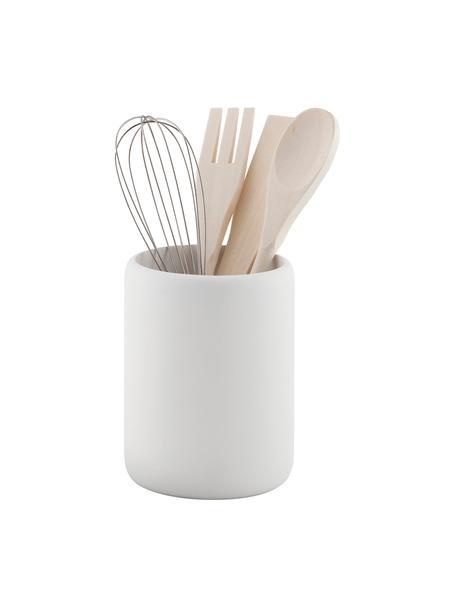 Komplet sztućców kuchennych Botta, 5 elem., Biały, drewno naturalne, Ø 11 x W 23 cm