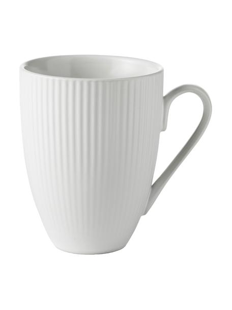 Tazza bianca con struttura rigata Groove 4 pz, Gres, Bianco, Ø 9 x Alt. 11 cm