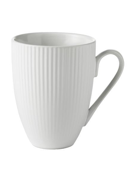 Witte koffiemokken Groove met groefstructuur, 4 stuks, Keramiek, Wit, Ø 9 x H 11 cm