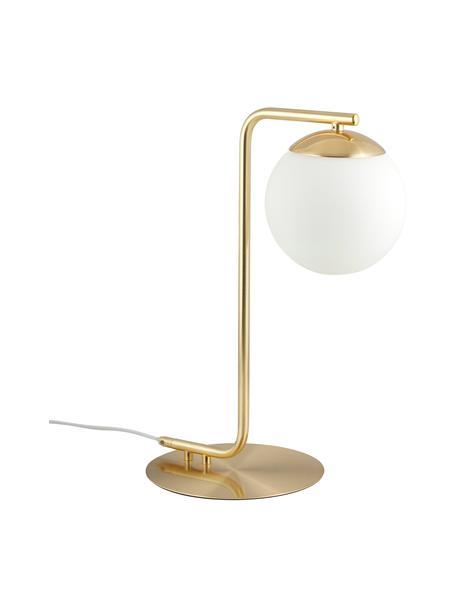 Tafellamp Grant in messing, Lampvoet: messing, Lampenkap: opaalglas, Messingkleurig, wit, 20 x 41 cm