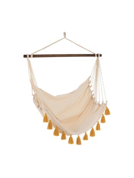 Silla colgante con borlas Quast, Barra: madera, Crema, ocre, An 128 x Al 160 cm