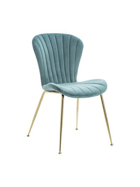 Krzesło tapicerowane z aksamitu Concha, Tapicerka: aksamit, Nogi: metal, Niebieski, S 54 x G 49 cm