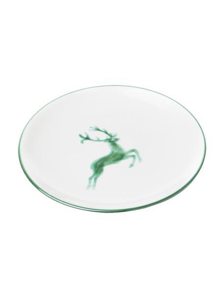 Handbeschilderd dessertbord Classic Green Deer, Keramiek, Groen, wit, Ø 20 cm