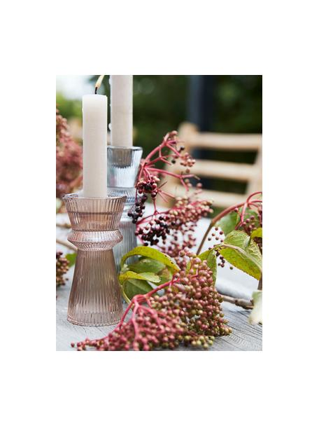 Świecznik Sivia, Szklanka, Blady różowy, transparentny, Ø 6 x W 12 cm