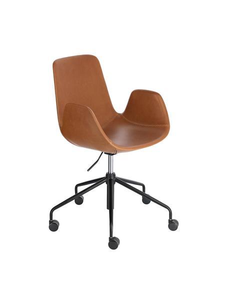 Kunstleren bureaustoel Yolanda, in hoogte verstelbaar, Bekleding: kunstleer, Frame: gecoat staal, Bruin, zwart, 66 x 72 cm