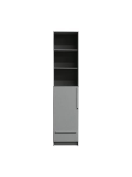 Schmaler Schrank Pure in Grau, Kiefernholz, beschichtet, Grau, 48 x 215 cm