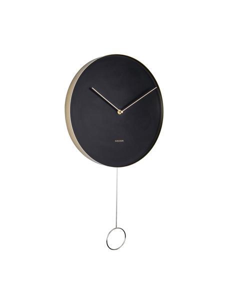 Wandklok Pendulum, Gecoat metaal, Zwart, messingkleurig, Ø 34 cm