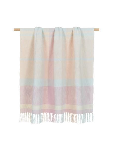 Coperta in cotone a quadri con frange in tonalità pastello Karen, 100% cotone, Rosa, Larg. 130 x Lung. 170 cm