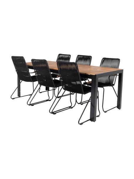 Set tavolo e sedie da giardino Bois 7 pz, Seduta: corda rivestita, Nero, marrone, Set in varie misure