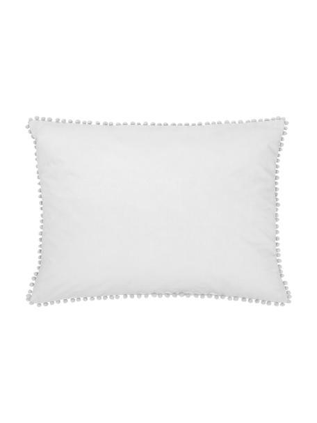 Funda de almohada de percal con pompones Bommy, Gris, An 50 x L 70 cm