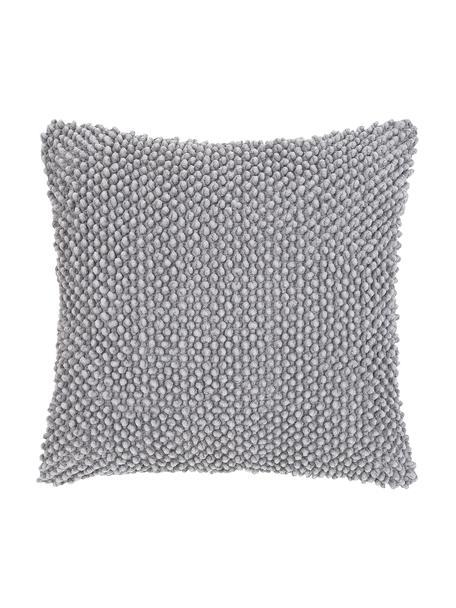 Kussenhoes Indi met gestructureerde oppervlak in grijs, 100% katoen, Lichtgrijs, 45 x 45 cm