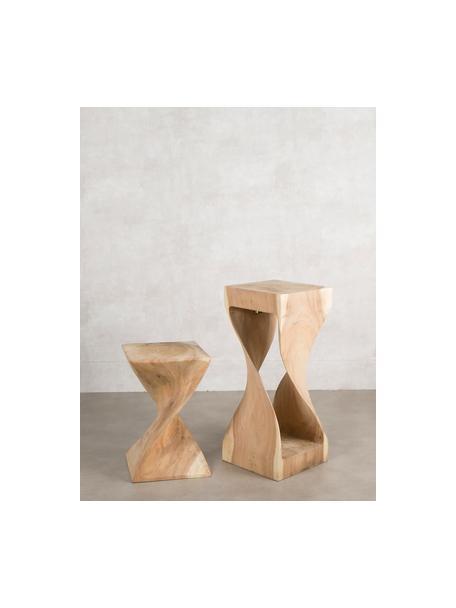 Mesa auxiliar artesanal Sandy, Madera de roble maciza, Beige, An 30 x Al 45 cm