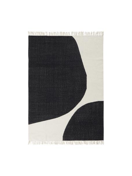 Handgewebter Wollteppich Stones mit abstraktem Muster, 81% Wolle, 19% Baumwolle, Gebrochenes Weiß, Anthrazit, B 160 x L 230 cm (Größe M)