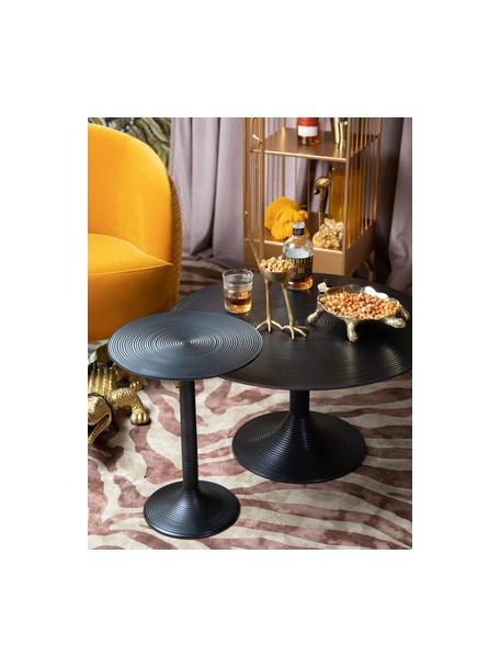 Tavolino da salotto rotondo color nero Hypnotising, Alluminio verniciato, Nero, Ø 77 x Alt. 40 cm