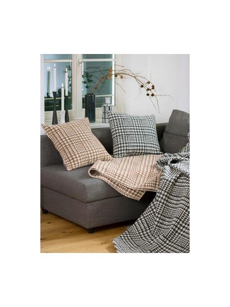 Manta Glencheck, Tapizado: 85%algodón, 8%viscosa, , Negro, blanco, An 145 x L 220 cm