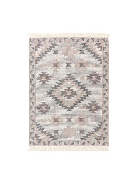 Handgeweven wollen vloerkleed Cari met ethno patroon, 70% wol, 30% polyester, Grijs, B 80 x L 150 cm (maat XS)