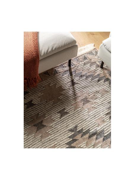 Ręcznie tkany dywan kilim z frędzlami Cari, 70% wełna, 30% poliester, Szary, S 80 x D 150 cm (Rozmiar XS)