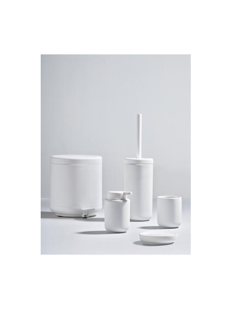 Szczotka toaletowa z pojemnikiem z kamionki Ume, Biały, matowy, Ø 10 x W 39 cm