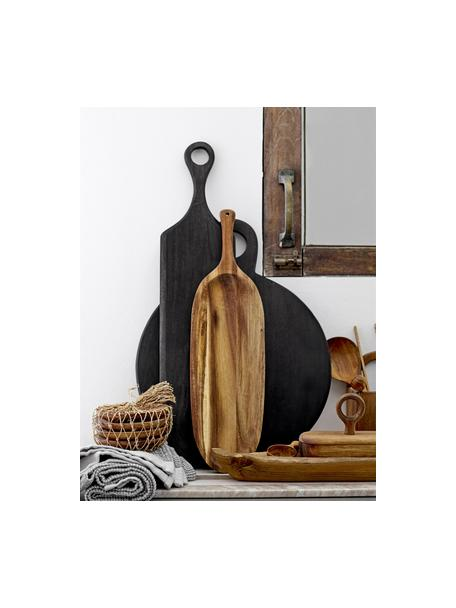 Tagliere in legno di acacia Hola, Ø 36, Legno di acacia rivestito, Nero, Lung. 46 x Larg. 36 cm