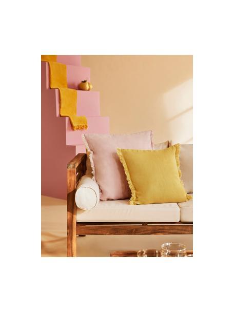 Federa arredo in lino giallo con frange Luana, 100% lino, Giallo, Larg. 40 x Lung. 40 cm