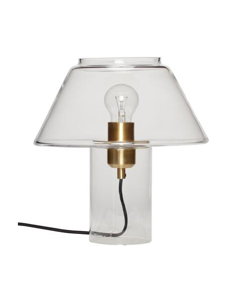 Transparante tafellamp Gluni van glas, Lampenkap: glas, Lampvoet: glas, Fitting: messing, Transparant, Ø 27 x H 29 cm