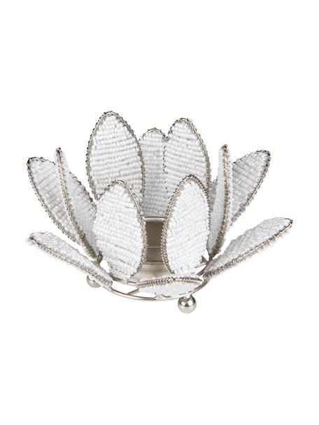 Świecznik na podgrzewacze Kei, Metal, szklane koraliki, Biały, odcienie srebrnego, Ø 13 x W 9 cm