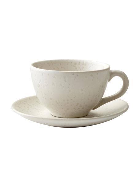 Tazza con piattino in gres beige chiaro maculato Bizz, Gres, Beige chiaro, Ø 10 x Alt. 6 cm