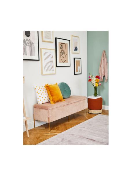 Banco de terciopelo Harper, Tapizado: terciopelo de algodón Alt, Patas: metal con pintura en polv, Rosa palo, dorado, An 140 x Al 45 cm